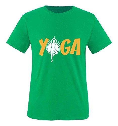 Comedy Shirts - YOGA - FIGUR - Herren T-Shirt - Grün / Weiss-Gelb Gr. XL (Grünes T-shirt Türkei Die)