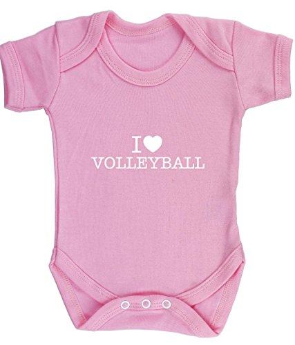 hippowarehouse Herz Volleyball Baby Weste Body (kurzärmlig) Jungen Mädchen, Pink, 684-BV-LP-6-12 (Volleyball-pool-net)