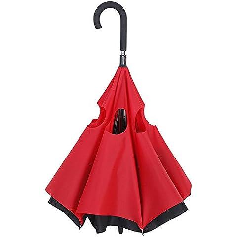 Zomtop invertido Paraguas creativo de doble capa interior hacia fuera del paraguas auto para el coche parado en la protección de la lluvia