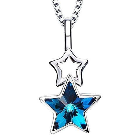 PDFGO Collier En Argent Sterling Femme Pendentif étoile Collier En Cristal 21cm (inclus) -50cm (inclus),Blue-21cm(inclusive)-50cm(inclusive)