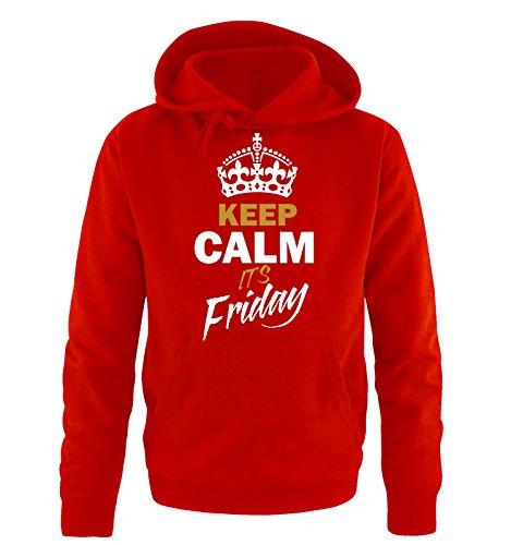 Comedy Shirts - KEEP CALM IT´S FRIDAY - Uomo Hoodie cappuccio sweater - taglia S-XXL vari colori rosso / bianco-oro