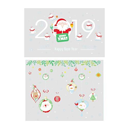 Weihnachten Cartoon Wandaufkleber 2019 Frohe Weihnachten Removable Decals für Store Office Fenster ()