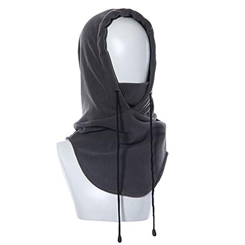 Tangmi® Masque Passe-montagne écharpe en polaire unisexe gris