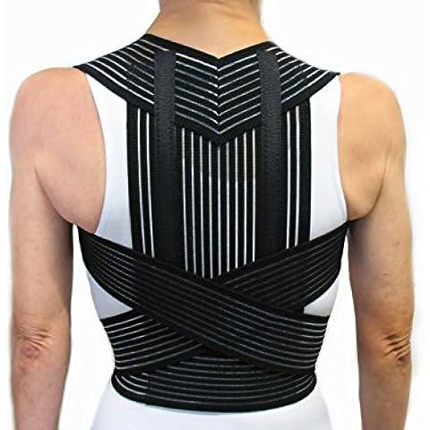 CORRECTOR DE POSTURA CON VARILLAS -Negro, L (87-97 cm.)- Faja Cinturón Postural Soporte para Espalda y Hombros -