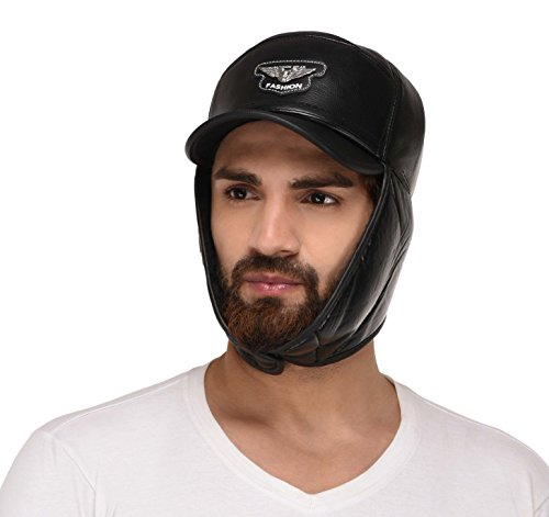 FabSeasons Solid Leather Look Winter Cap with Ear Cover, comes with a layer of Acrylic Fur on the ear cover