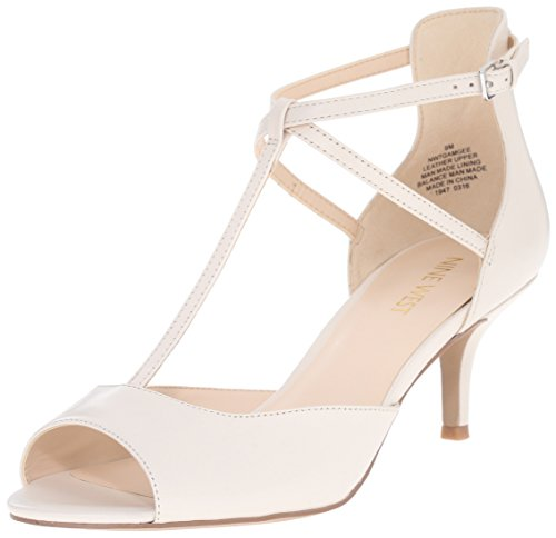 Nine West Gamgee Leather Pump Dress Off-White Leather