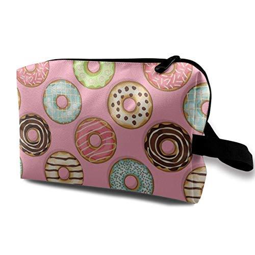 Patent-tasche Auf Der Vorderseite (Donut auf rosa Multifunktionskoffer Kulturbeutel Reisemake-up Kosmetiktaschen)