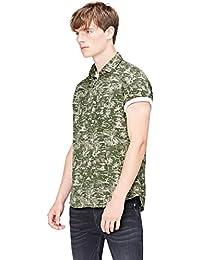 FIND Men's Palm Print Short Sleeve Regular Fit Shirt