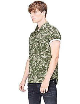 [Sponsorizzato]FIND Camicia con Stampa Tropicale a Manica Corta Regular Fit Uomo