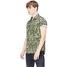 FIND Camisa de Manga Corta con Estampado Tropical de Corte Estándar para Hombre