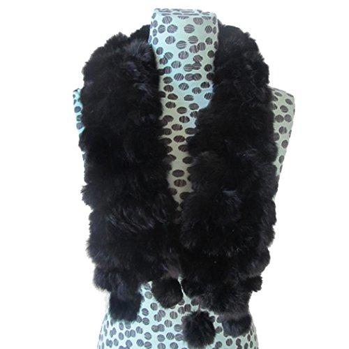 ❤️• •❤️ LUCKYCAT Pelz Schal Kaninchenfell Kragen Schal Frauen Winter Kaninchenfell Schal Dame Casual Pelz Schals Pelz Ball Samt Pelz Schal Rabbit Hair Schal Schals (B)