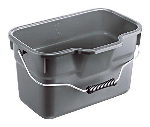 Rotho Haushalt Basic, Rechteckiger Kunststoff in grau mit Henkel, Inhalt Eimer 12 Liter, ca. 38 x 26 x 23 cm Haushaltseimer, Plastik, anthrazit