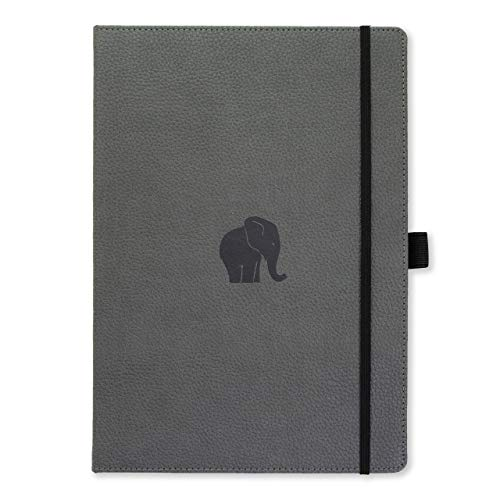 Dingbats D5104GY Wildlife A4+ Hardcover Notizbuch - PU-Leder, Mikroperforiert 100gsm Creme Seiten, Innentasche, Gummiband, Stifthalter, Lesezeichen (Gepunktet, Grauer Elefant)