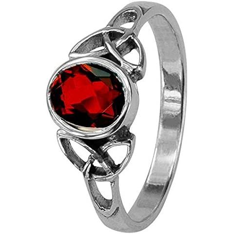 Celtic Birthstone anello gennaio–Granato