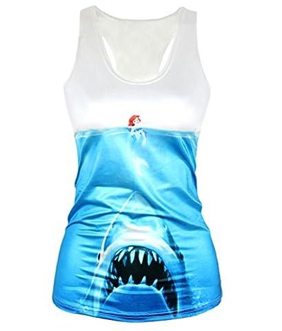 Girl's Mermaid and Shark Basic Tee Tank Top One Size