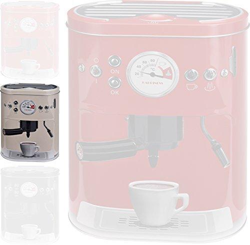 Kaffeedose Blechdose Vorratsdose mit 3D Motiv Kaffeemaschine Aufbewahrungsdose Kaffee Dose (Beige)