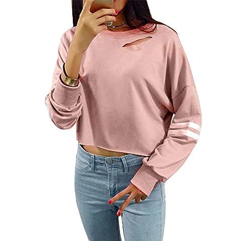Femmes Sweatshirt Hole Print Crop Coat, Hoodie de sport de mode (Size:L, Rose)