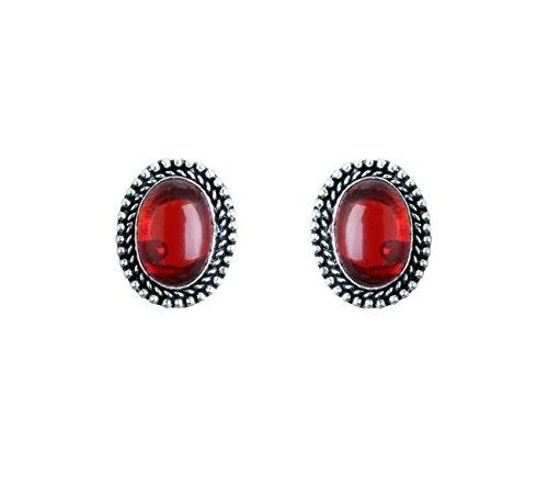 Waama Jewels Agate Maroon Brass Stud Earring For Women And Girls