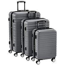 AmazonBasics - Set da 3 trolley rigidi di ottima qualità, con rotelle pivotanti e lucchetto TSA integrato, 55 cm, 68 cm, 78 cm, grigio