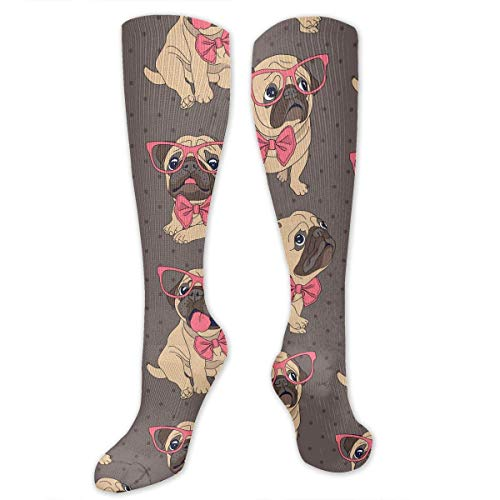 CVDGSAD Cartoon Pug in A Glasses and in A Bow-tie Pattern Men & Women Knee High Sport Compression Long Stockings for Soccer Working