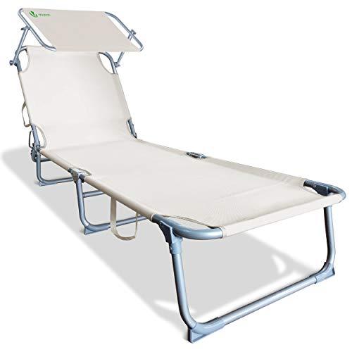 VOUNOT Chaise Longue Bain de Soleil avec Pare Soleil | Transat Pliable avec Parasol | Bain De Soleil inclinable en Polyester | Charge Max 110KG | Chaise Longue réglable