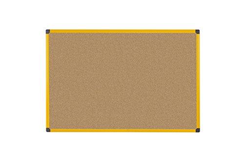 Bi-Office Korktafel Pinnwand Ultrabrite, 90 x 60 cm mit gelber Alurahmen