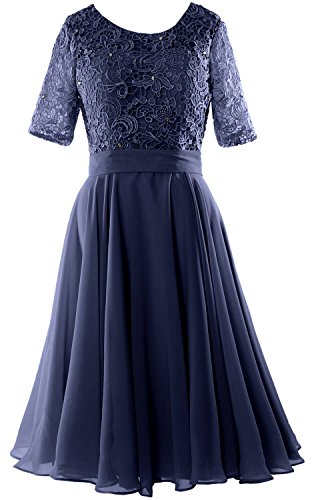 MACloth Elegant Short Mother of the Bride Dress Half Sleeves Lace Formal Gown (EU38, Dunkelmarine)