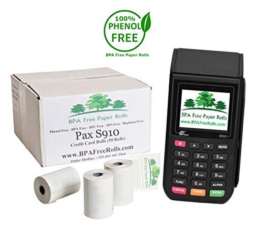 Pax A910 - Rollos tarjetas crédito sin BPA 50 rollos