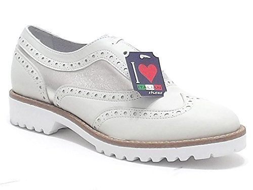 Soldini scarpe donna, modello 19559, scarpe stringate basse in pelle, colore bianco argento