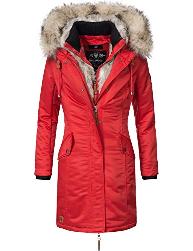 Navahoo Damen Wintermantel Winterparka Daylight Rot Gr. M