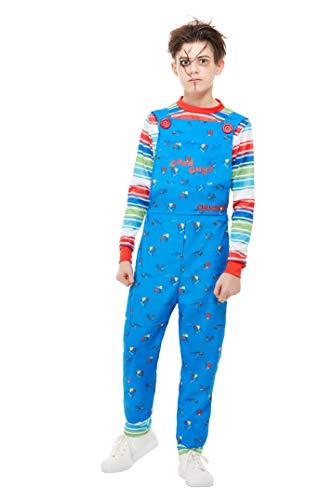 Kind Kostüm Chucky - Smiffys 82005S Chucky Kostüm für Jungen, offizielles Lizenzprodukt, Blau, Größe S, 4-6 Jahre