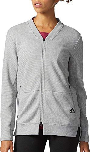 adidas Women's Cover Up Full Zip Sweatshirt(MGH, S) Double-knit Warm Up Jacket