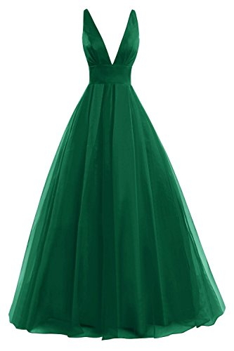 Fanciest Women's V Neck Ball Kleid Lang Kleides Evening Formelle Ballkleid Abendkleider 2016 Green