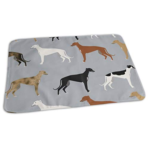Greyhounds Cute Dog Rescue Dog Fabric Best Dogs Cute Dog Design Best Dog Fabric Brindle Dogs, Baby Portable Reusable Changing Pad Mat 19.7