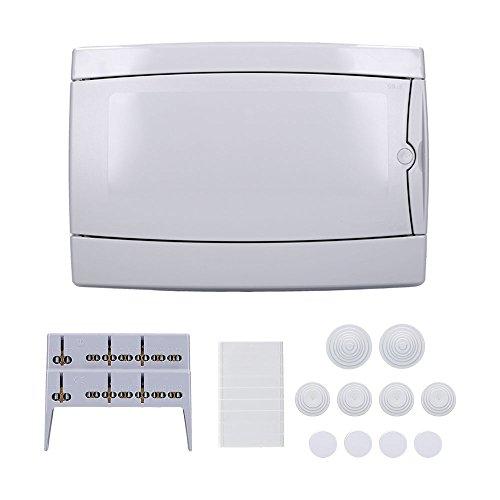 Aufputz Feuchtraum Verteiler 1-reihig IP65 12 Module Verteilerkasten Kleinverteiler Sicherungskasten, Tür hellgrau