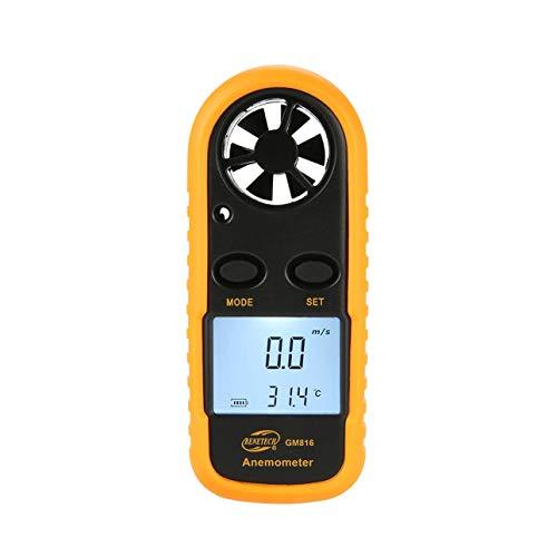 Ballylelly GM816 Anemómetro Digital Termómetro Velocidad del Viento Velocidad del Aire Medidor de Temperatura del Flujo de Aire Medidor de Viento con retroiluminación LCD