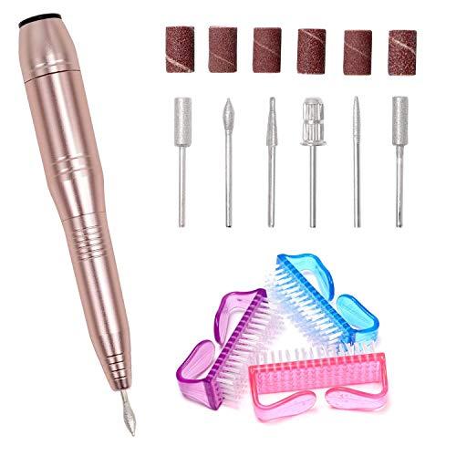Elektrisches Maniküre-/Pediküre-Set, Elektrische Nagelfeile Nagelfräser mit 6 Nagelpflege-Aufsätzen und 3 Bürsten-EINWEG - Elektrische Maniküre Pediküre Nagel