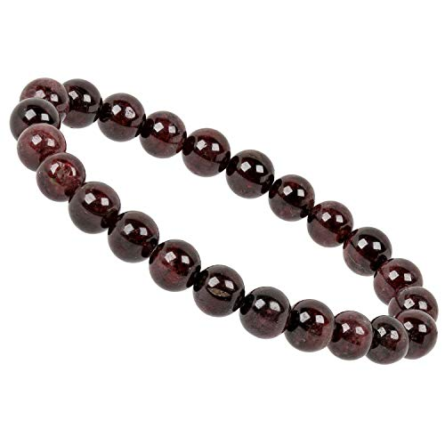 ELEDORO PowerBead Damen-Armband Stretch aus Edelstein Perlen 8 mm 17-18 cm mit Granat (8. Frauen März)