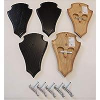 5 unidades de letreros con forma de trofeo, con 2 compartimentos para la mandíbula en roble oscuro con 5 unidades de pinzas para los oídos AF 20,5 x 13 cm