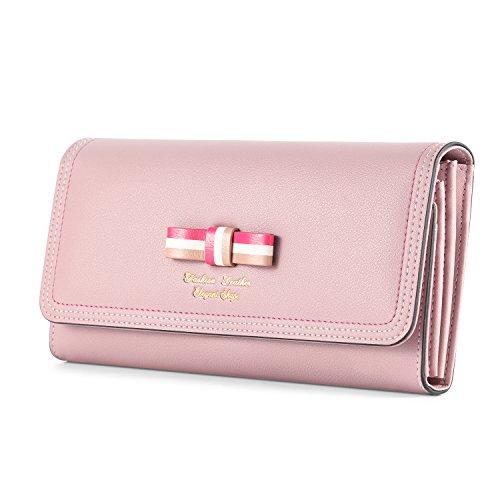Kattee Damen Leder langer Geldbeutel Fashion Schleife Portemonnaie Brieftasche(Rosa) (Rosa Lange Reißverschluss Geldbörse)