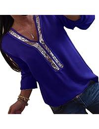 a285b22faa994 DEMO SHOW Damen Chiffon Bluse Langarm Pailletten V Ausschnitt Freizeit  Tunika Blusen T Shirt Tops