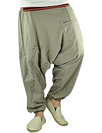 Sarouel unisexe avec entrejambe bas, pantalons avec impression traditionel Yantra comme vêtements ethnique de virblatt – Ha Taew