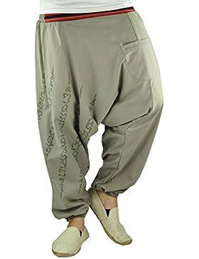 virblatt pantalones bcagados de entrepierna caída para hombres y mujeres con tatuaje espiritual Yantra y pantalones...