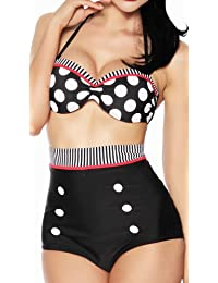 jowiha® Vintage Push Up Bikini im Retro Rockabilly Style in schwarz/rot/weiß Größen S M L oder XL