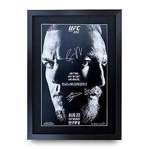 HWC Trading Poster, A3, FR UFC 202 Programm Conor McGregor Nate Diaz, signiertes Geschenk, gerahmt, A3