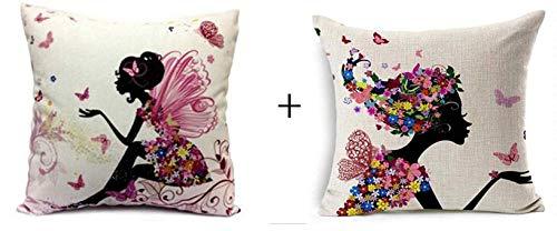 Gamloious 1 Satz 2 Stück Blumen-Fee-Mädchen mit rosa Flügel Elfen und Schmetterlinge New Dekorative Kissen Dekokissen Kissenbezug Platz 18