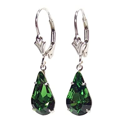 End of line clearance. 925 Sterling Silver lever back earrings handmade with Emerald Green crystal from SWAROVSKI® for Women