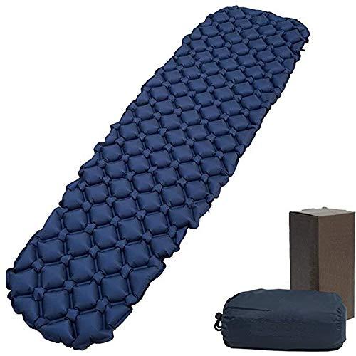 RENXR Ultraleichte Schlafmatte mit Kissen Aufblasbare Air Camping Pad Wasserdicht und feuchtigkeitsbeständig Kompakte, tragbare Matratze für Outdoor-Sport Wandern Rucksackreisen Blau Grün,Blau