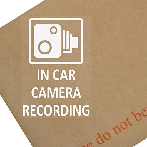 4 x extern, 60 x 87 mm Kamera Aufzeichnung Fenster Aufkleber-CCTV-Schild, Lieferwagen, LKW, KFZ, LKW, Bus und Taxi, Mini-Cab, Minicab.White auf Clear Adhesive Vinyl Zeichen .Great getönten Fenstern, für Go Pro/Dashcam
