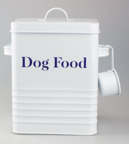 YGL - Scatola di latta per cibo per cani in stile vintage, finitura in bianco anticato con scritta blu cobalto, ideale per conservare cibo secco o dolcetti per animali domestici